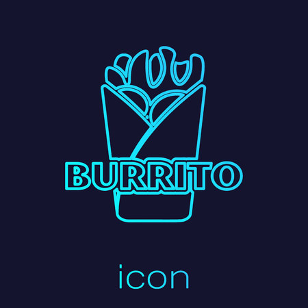 Turquoise Burrito line icon isolated on blue background. Traditional mexican fast food. Vector Illustration