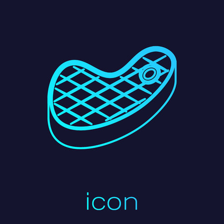 Turquoise Steak meat line icon isolated on blue background. Vector Illustration