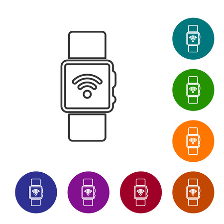 Grey Smartwatch with wireless symbol line icon isolated on white background. Vector Illustration Illustration