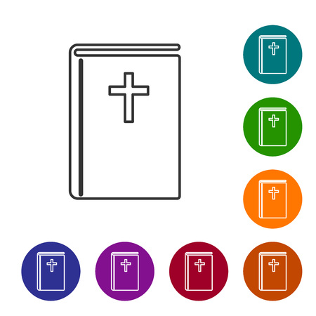 Grey Holy bible book line icon isolated on white background. Vector Illustration Çizim