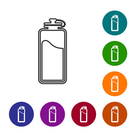 Grey Sport bottle with water line icon isolated on white background. Vector Illustration Vektorgrafik