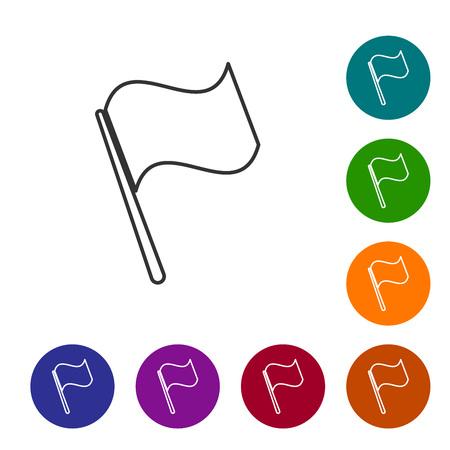 Grey Flag line icon isolated on white background. Vector Illustration