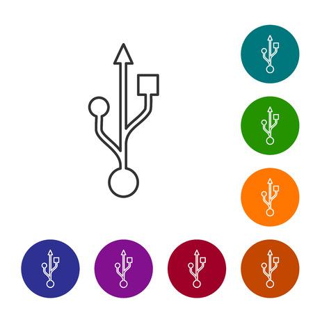 Grey USB symbol line icon isolated on white background. Vector Illustration