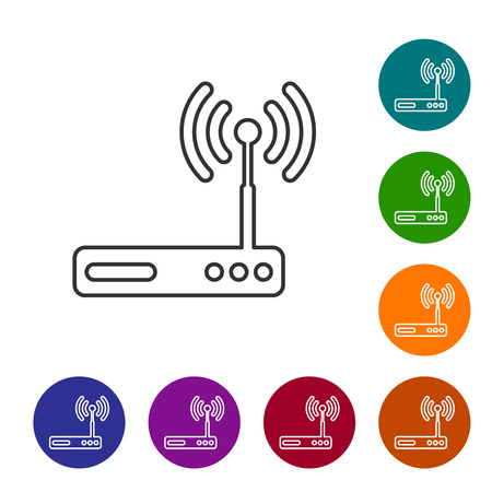 Grey Router and wifi signal symbol line icon isolated on white background. Wireless internet modem router. Computer technology internet. Vector Illustration Illustration