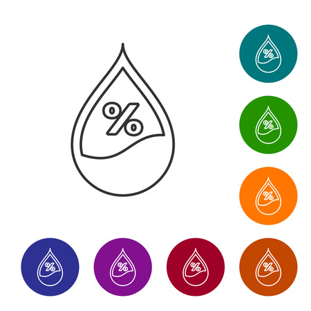 Grey Water drop percentage line icon isolated on white background. Humidity analysis. Vector Illustration