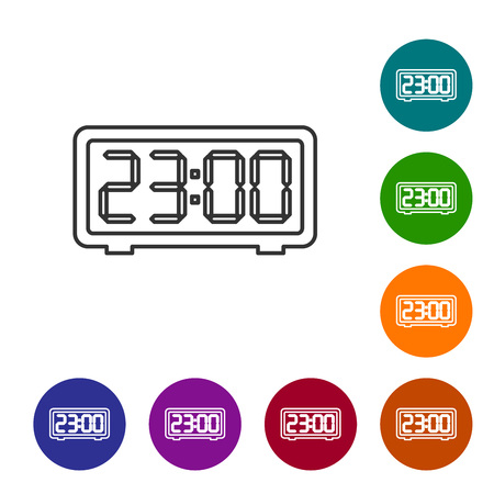 Grey Digital alarm clock line icon isolated on white background. Electronic watch alarm clock. Time icon. Vector Illustration