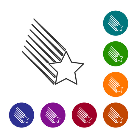 Grey Falling star line icon isolated on white background. Shooting star with star trail. Meteoroid, meteorite, comet, asteroid, star icon. Set icon in color circle buttons. Vector Illustration