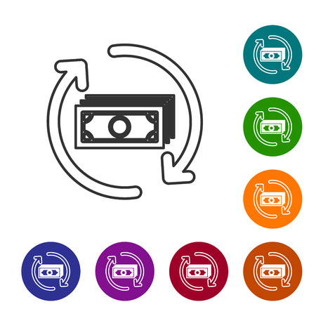 Grey Refund money line icon on white background. Financial services, cash back concept, money refund, return on investment, savings account. Set icon in color circle buttons. Vector Illustration