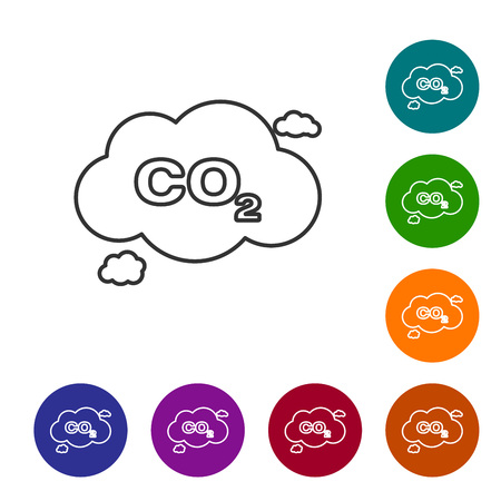 Grey CO2 emissions in cloud line icon isolated on white background. Carbon dioxide formula symbol, smog pollution concept, environment concept. Set icon in color circle buttons. Vector Illustration
