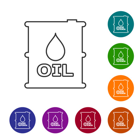 Grey Oil barrel line icon isolated on white background. Oil drum container. For infographics, fuel, industry, power, ecology. Set icon in color circle buttons. Vector Illustration Ilustração