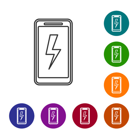 Grey Smartphone charging battery line icon isolated on white background. Phone with a low battery charge. Set icon in color circle buttons. Vector Illustration