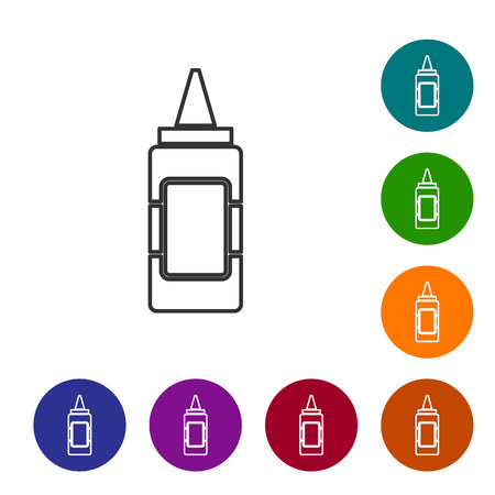Grey Mustard bottle line icon isolated on white background. Set icon in color circle buttons. Vector Illustration