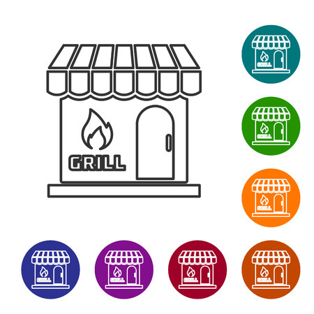 Grey Barbecue shopping building or market store line icon isolated on white background. BBQ grill party. Shop construction. Set icon in color circle buttons. Vector Illustration
