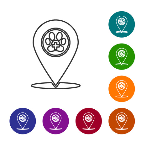 Grey Map pointer with veterinary medicine hospital, clinic or pet shop for animals line icon on white background. Vet or veterinarian clinic. Set icon in color circle buttons. Vector Illustration Stock Illustratie