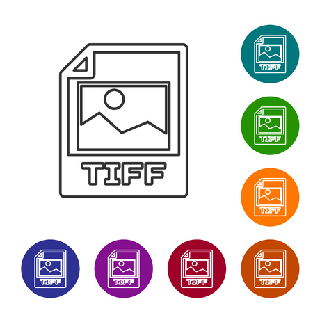 Grey TIFF file document icon. Download tiff button line icon isolated on white background. TIFF file symbol. Set icon in color circle buttons. Vector Illustration Illustration