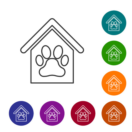 Grey Dog house and paw print pet line icon isolated on white background. Dog kennel. Set icon in color circle buttons. Vector Illustration