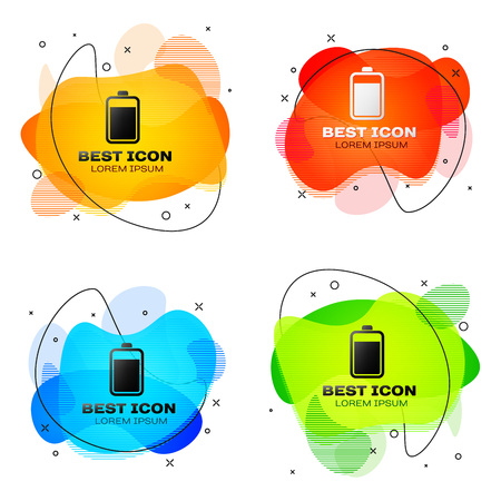 Black Battery icon isolated on white background. Set of liquid color abstract geometric shapes. Vector Illustration