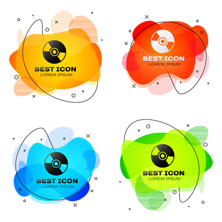 Black CD or DVD disk icon isolated on white background. Compact disc sign. Set of liquid color abstract geometric shapes. Vector Illustration