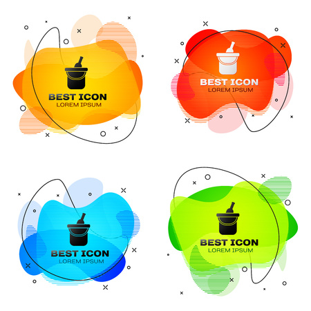 Black Bottle of wine in an ice bucket icon isolated. Set of liquid color abstract geometric shapes. Vector Illustration