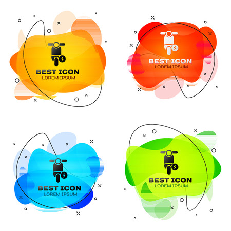 Black Electric scooter icon isolated. Set of liquid color abstract geometric shapes. Vector Illustration