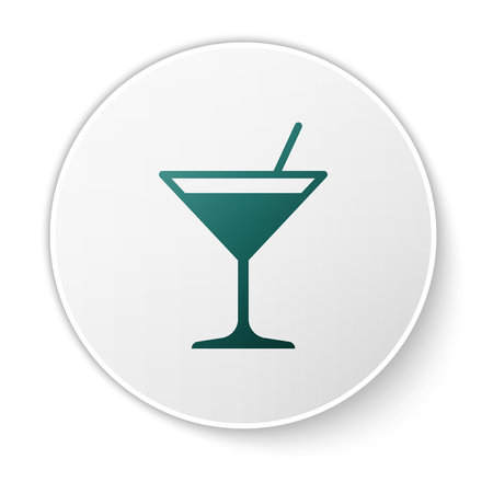 Green Martini glass icon isolated on white background. Cocktail icon. Wine glass icon. Green circle button. Vector Illustration Illustration