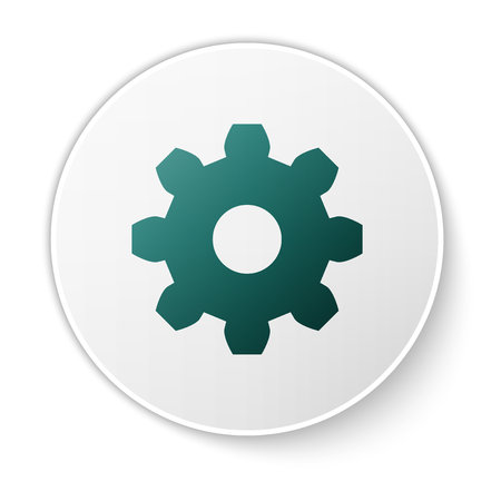 Green Gear icon isolated on white background. Cogwheel gear settings sign. Cog symbol. Green circle button. Vector Illustration