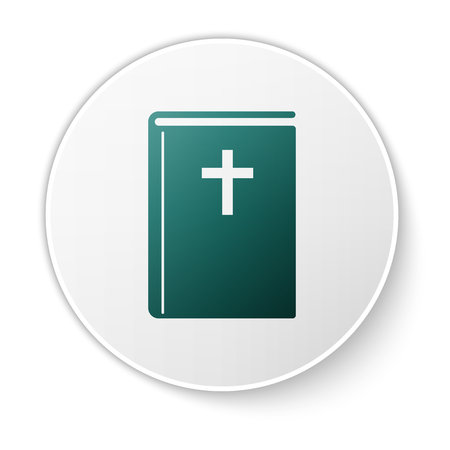 Green Holy bible book icon isolated on white background. Green circle button. Vector Illustration Çizim