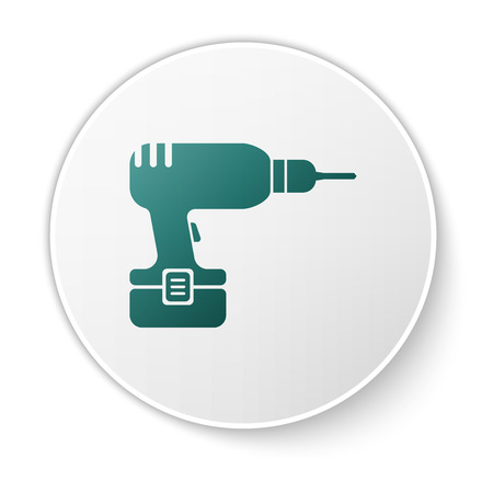 Green Drill machine icon isolated on white background. Green circle button. Vector Illustration
