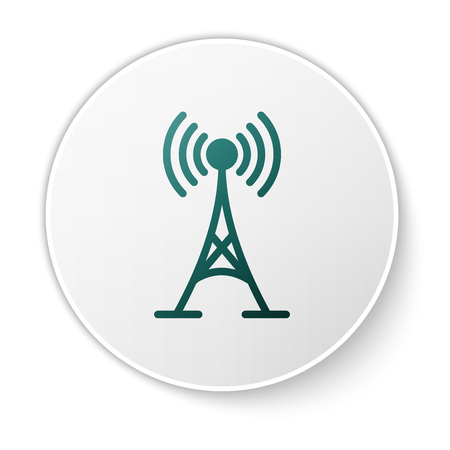 Green Antenna icon isolated on white background. Radio antenna wireless. Technology and network signal radio antenna. Green circle button. Vector Illustration