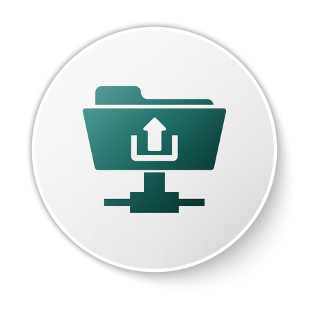 Green FTP folder upload icon on white background. Concept of software update, transfer protocol, router, teamwork tool management, copy process. Green circle button. Vector Illustration