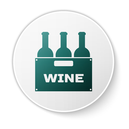 Green Bottles of wine in a wooden box icon isolated on white background. Wine bottles in a wooden crate icon. Green circle button. Vector Illustration