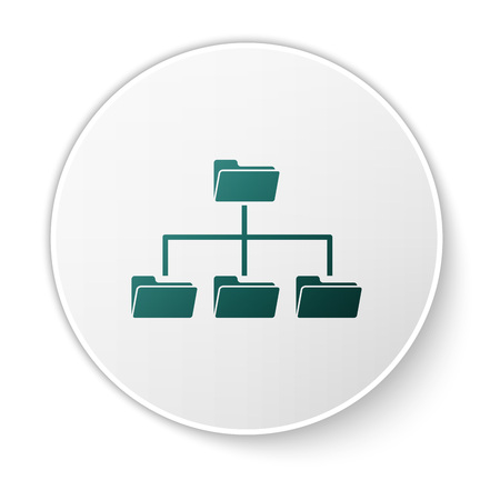Green Folder tree icon isolated on white background. Computer network file folder organization structure flowchart. White circle button. Vector Illustration Illustration