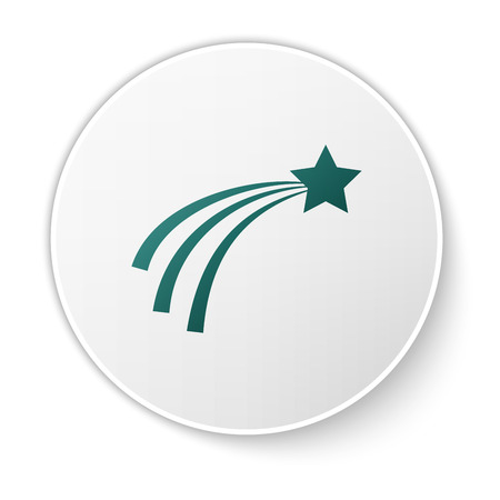 Green Falling star icon isolated on white background. Shooting star with star trail. Meteoroid, meteorite, comet, asteroid, star icon. White circle button. Vector Illustration Illustration