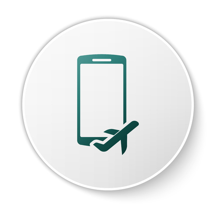 Green Flight mode in the mobile phone icon isolated on white background. Airplane or aeroplane flight offline mode passenger regulation airline . White circle button. Vector Illustration