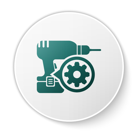 Green Drill machine and gear icon isolated on white background. Adjusting app, service concept, setting options, maintenance, repair, fixing. White circle button. Vector Illustration
