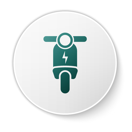Green Electric scooter icon isolated on white background. White circle button. Vector Illustration Illustration
