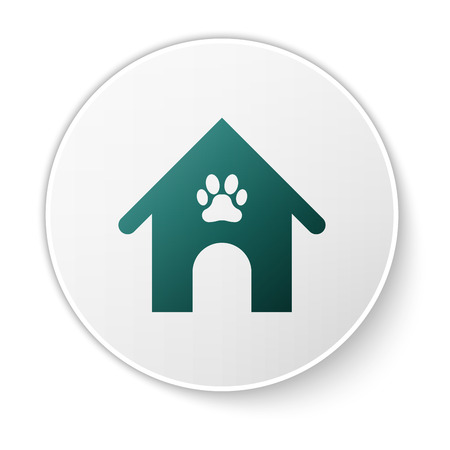 Green Dog house and paw print pet icon isolated on white background. Dog kennel. White circle button. Vector Illustration Illustration