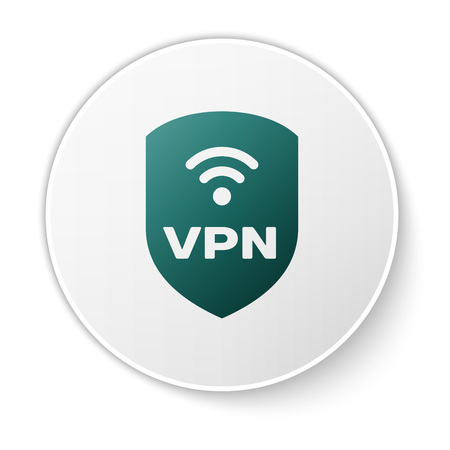 Green Shield with VPN and wifi wireless internet network symbol icon isolated on white background. VPN protect safety concept. White circle button. Vector Illustration