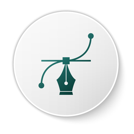 Green Bezier curve icon isolated on white background. Pen tool icon. White circle button. Vector Illustration