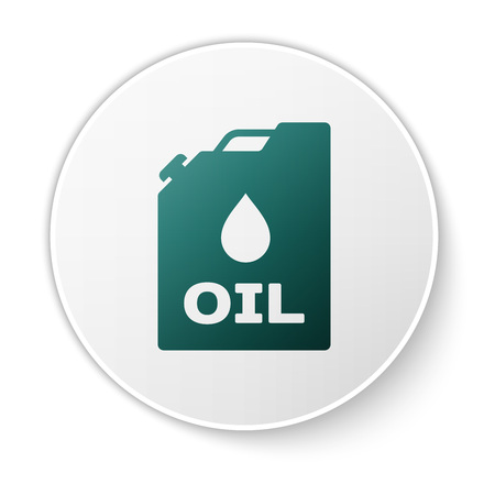 Green Plastic canister for motor machine oil icon isolated on white background. Oil gallon. Oil change service and repair. Engine oil sign. White circle button. Vector Illustration