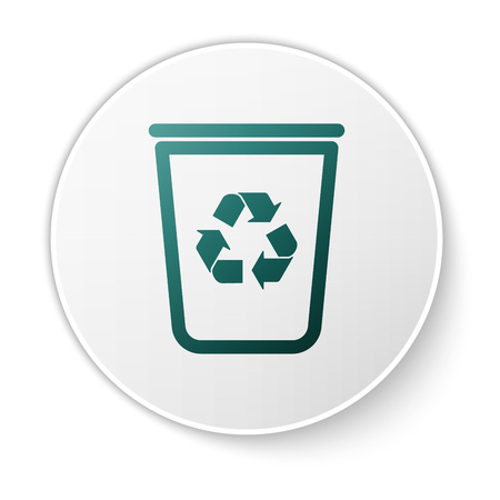Green Recycle bin with recycle symbol icon isolated on white background. Trash can icon. Garbage bin sign. Recycle basket sign. White circle button. Vector Illustration