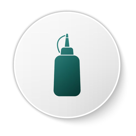 Green Mustard bottle icon isolated on white background. White circle button. Vector Illustration