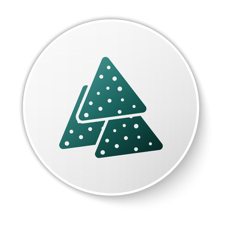 Green Nachos icon isolated on white background. Tortilla chips or nachos tortillas. Traditional mexican fast food. White circle button. Vector Illustration 向量圖像