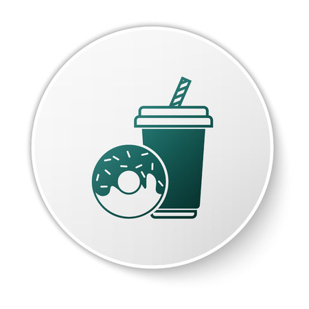 Green Soda drink with drinking straw and donut icon isolated on white background. Fast food symbol. White circle button. Vector Illustration Stock Illustratie