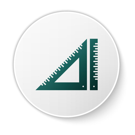 Green Triangular ruler icon isolated on white background. Straightedge symbol. Geometric symbol. White circle button. Vector Illustration Illustration