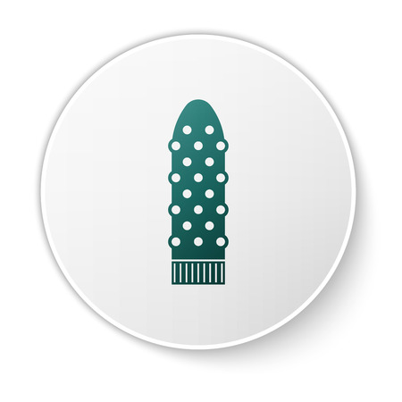 Green Dildo for games icon isolated on white background. Sex toy for adult. Vaginal exercise machines for intimate. White circle button. Vector Illustration