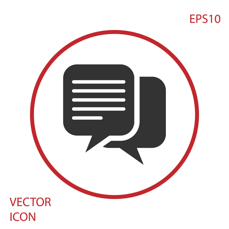 Grey Chat icon isolated on white background. Speech bubbles symbol. Red circle button. Vector Illustration