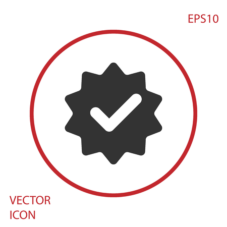 Grey Approved or certified medal with ribbons and check mark icon isolated on white background. Red circle button. Vector Illustration