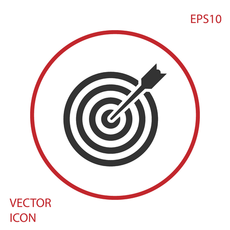Grey Target with arrow icon isolated on white background. Dart board sign. Archery board icon. Dartboard sign. Business goal concept. Red circle button. Vector Illustration Illustration