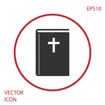 Grey Holy bible book icon isolated on white background. Red circle button. Vector Illustration